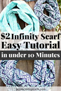 DIY Infinity Scarf VIDEO tutorial. How to make your own $2 DIY Infinity Scarf in less than 10 minutes with this quick and easy VIDEO tutorial and step by step instructions.