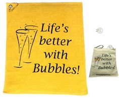 The Bubbles Par 3 has one Life's Better With Bubbles towel, one Life's Better With Bubbles tee bag (tees not included), and one bling Life's Better With Bubbles hat clip ball marker. Comes in a cute little mesh bag. Holiday Golf Gifts. Christmas Golf Gifts.