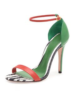 I Love this shoe...   X22H8 Alexander McQueen Snake & Napa Colorblock Sandal, Green/Black/Red