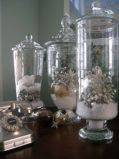 Apothecary jar inspiration.  Sure, this is great for Christmastime - what about sand & shells in the Summer... Corn & mini pumpkins, pinecones in the Autumn.  Hmmm - what for spring?  Nests & (fake) eggs?  Jellybeans?