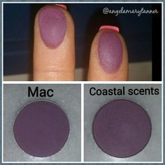 Mac Fig 1 vs coastal scents hot pot violetta. Violetta-A deep mauve-violet hue with a satin finish.