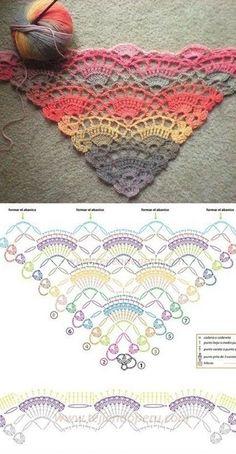 Gráfico - Faça você mesma - xale de crochê colorido