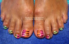 CND Shellac Rainbow Tiger nails!  Shellac using custom blended pigments with animal print detailing. Super bright toes!  #cndshellac #salcombe #toes #nailart