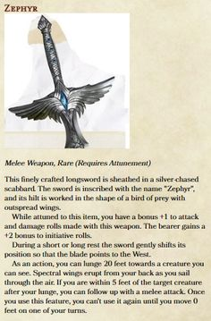 """Running Lost Mine's of Phandelver, turned the  1 longsword """"Talon"""" into a much more interesting weapon."""