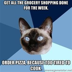 Chronic Illness Cat - Get all the grocery shopping done for the week. Order pizza, because too tired to cook.