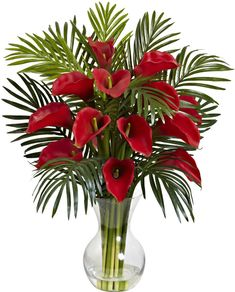 Nearly Natural Calla Lily and Areca Palm Silk Flower Arrangement with Vase #NearlyNatural