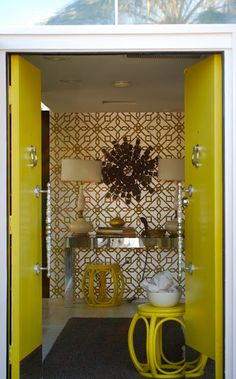 citron and gold hollywood regency entry
