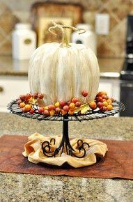 Halloween pumpkin becomes Thanksgiving center piece.