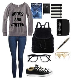 """Untitled #102"" by shirelcas on Polyvore featuring Topshop, Converse, Sloane Stationery, Kate Spade, Montblanc and Jennifer Meyer Jewelry"