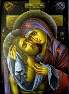 Beautiful icon of Christ and the Theotokos orthodox christianity Religious Pictures, Religious Icons, Religious Art, Byzantine Icons, Byzantine Art, Blessed Mother Mary, Blessed Virgin Mary, Our Lady Of Sorrows, Mary And Jesus