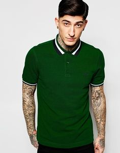 Fred Perry Polo Shirt with Bold Tipping Slim Fit In Green