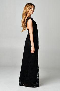 Black Crochet Maxi Dress