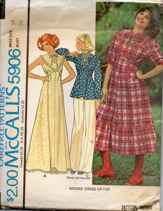 McCalls 5906 1970s Misses Day and Evening Ruffled Yoke Dress tunic Top womens vintage sewing pattern by mbchills, $8.00