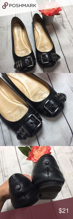Gianni Bini Black Leather Buckle Ballet Flats Gianni Bini Size 7.5  Black leather ballet flats with silver buckle detail & square toe, Gianni Bini Shoes Flats & Loafers
