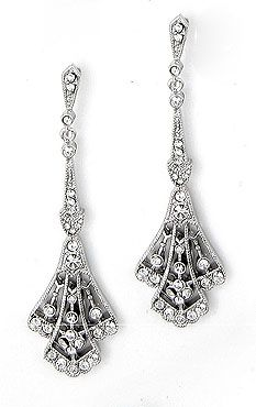 Vintage Art Deco Design, Filigree with Inlaid Cz Earrings. 2 1/4