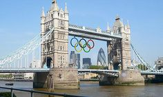 Olympic rings on Tower Bridge. This is so exciting! I wish I was going..,
