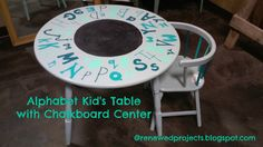 Reduce, Reuse, Renewed: Alphabet Kid's Table with Chalkboard Center