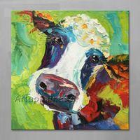 Vaca pintura a Óleo Sobre Tela de Parede Animais Pinturas Para Sala de estar plattle faca pintados à mão abstrata moderna Da Arte Da Lona Da Parede Da sala 3