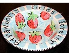 """Strawberry Fields Forever"" handpainted bowl."
