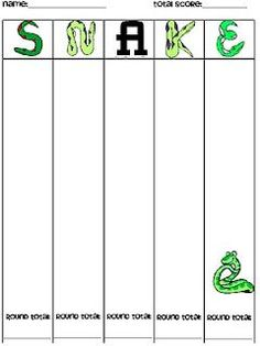 Directions for playing Snake, a whole class dice game. Can be used with addition or multiplication. Looks like fun.