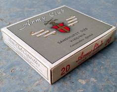 Vintage Complete Cavanders Army Club Cigarette pack by vavoombisbee on Etsy Club, Army, Trending Outfits, Unique Jewelry, Handmade Gifts, Vintage, Gi Joe, Kid Craft Gifts, Military