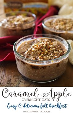 Caramel Apple Overnight Oats, a simple fall breakfast idea that will keep you full throughout the day. Combine, shake & refrigerate to enjoy by morning! #ad #celestialseasonings #themagicoftea