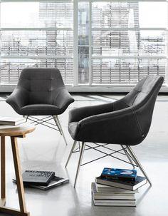 #Fauteuil Ravenna : Tissu anthracite, piètement en acier inox / Ravenna #Armchair :  Anthracite fabric, stainless steel legs. #furniture #design