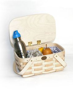 Kid's Wooden Lunch Basket with Lid and Liner. Natural ash wood. Made in USA. $34.95