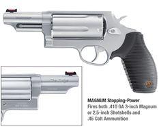Judge (.410 Magnum Shotshells or .45 Long Colt) - got to shoot this. It's no girly gun. Had a great kick to it. Big handgun. Brilliant!