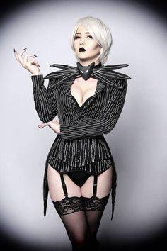 Elizabeth Custom Made Jack Skellington Corset Costume Costumes Sexy Halloween, Looks Halloween, Corset Costumes, Halloween Cosplay, Hot Goth Girls, Gothic Girls, Costume Jack Skellington, Austin Powers, Gothic Models
