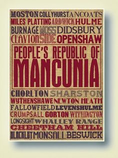 Manchester Typography Art Print by indieprints on Etsy Manchester Map, Manchester England, Vintage Posters, Vintage Art, Typography Art, Lettering, Travel Posters, Maps Posters, Old Letters