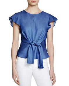 Lucy Paris Belted Ruffle Sleeve Chambray Top - Bloomingdale's Exclusive