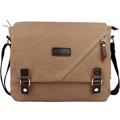 ibagbar Canvas Messenger Bag Shoulder Bag Laptop Bag Computer Bag Satchel Bag Bookbag School Bag Working Bag for Men and Women Light BrownLarge *** This is an Amazon Affiliate link. You can get more details by clicking on the image.