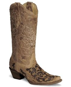 Corral Tooled Caiman Inlay Cowgirl Boot-Snip Toe
