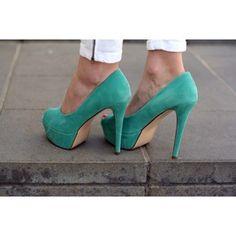 mint green high heels