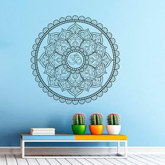 Wall Decal Vinyl Sticker Decals Art Home Decor Mural Mandala Ornament Indidan Geometric Moroccan Pattern Yoga Namaste Flower Om Bedroom
