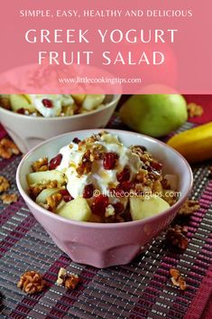Apple, banana and pear salad with Greek yogurt and dried cranberries: a fruit salad recipe you will make over and over! Davis-Reid Cooking Tips Fruit Salad With Yogurt, Fruit Salad Recipes, Yogurt Recipes, Cranberry Recipes, Apple Recipes, Delicious Fruit, Yummy Snacks, Apple Snacks, Salads