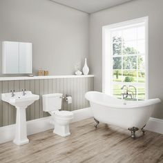 Discover the beautiful lines of our Darwin Traditional Bathroom Suite. Features a toilet, basin and gorgeous freestanding bath. Now at Victorian Plumbing. Bathroom Floor Tiles, Bathroom Toilets, Tile Floor, Bathroom Wall, Bathroom Cabinets, Bathroom Furniture, Bathroom Layout, Wood Floor, Bathroom Faucets