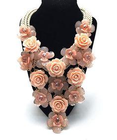 Riah Fashion Light Pink Rose Bib Necklace | zulily