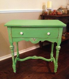 Antique dressing table in Annie Sloan Antibes green chalk paint