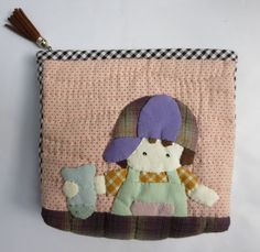quilt applique boy fish cotton fabric pencil cosmetic pouch purse case bag #Handmade #CosmeticBags