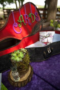 PHISH THEMED WEDDING. Antique Guitar Case used to collect cards at our wedding 5-25-13