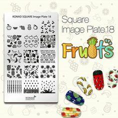 Konad Square 18. Fruits, nail stamping.