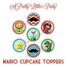 Mario Cupcake Toppers  Super Mario  Mario by aprettylittleparty