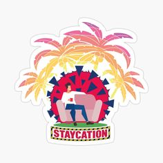 'Coronavirus Staycation Glossy Sticker by hitpointer Decorate Notebook, Staycation, Glossier Stickers, Sticker Design, My Arts, Vibrant, Art Prints, Printed, Awesome