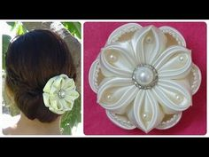 Hello everyone, here is a new Kanzashi flower tutorial. This kanzashi flower design is very simple and easy but very delicate as well and is perfect for a hair clip or hair band. Check out other flower tutorials on my channel. Please Like, Share and Subs Easy Fabric Flowers, Diy Ribbon Flowers, Ribbon Flower Tutorial, Satin Ribbon Flowers, Kanzashi Flowers, Kanzashi Tutorial, Diy Tutorial, Beads Tutorial, Diy Bridal Hair