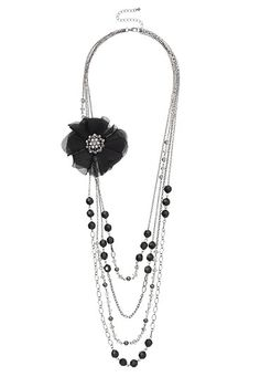 Draped Necklace with Flower (original price, $16) available at #Maurices