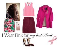 """""""wear pink 2016"""" by elizaja68 ❤ liked on Polyvore featuring River Island, Jimmy Choo, Casetify, Burberry, Marc by Marc Jacobs, Bling Jewelry and IWearPinkFor"""