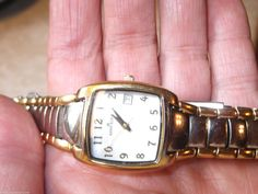 Anne Klein Quartz Watch Date Box Silver & Gold Tone Band EX LKNU Easy to Read #AnneKlein #DressOrCasual