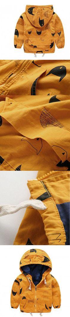 MNLYBABY Kids Baby Boy Fish Printed Zip Jacket Winter Warm Hooded Coat
